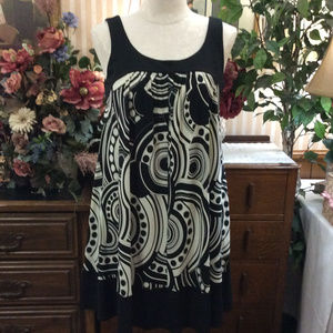 Black White 70's Mod Psychedelic Tunic Sun Dress